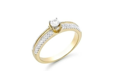 0.52 CTS TW CERTIFIED DIAMONDS 14K YELLOW GOLD RING 7.5