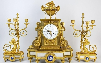19th C. Beurdeley 3 Pc. Gilt Bronze Mounted Marble