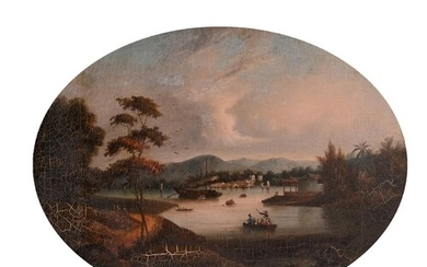 19th Century Chinese School. A River Landscape, with Figures...
