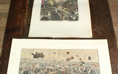 2 Antique Colored Engravings