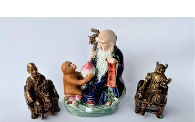 3 Chinese porcelain figures: one of a monkey giving fruit to...