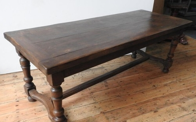 A 19TH CENTURY FRENCH OAK FARMHOUSE TABLE ON TURNED LEGS, on...