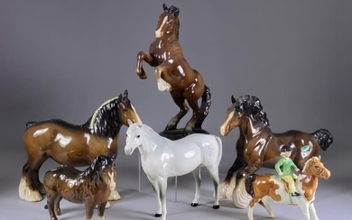 A Beswick Pottery Model of a Rearing Welsh Cob,...