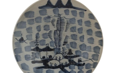 A CHINESE WHITE AND BLUE PORCELAIN DISH 19TH CENTURY.