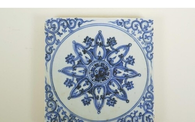 A Chinese blue and white porcelain pottery tile with Yin Yan...