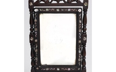 A Chinese mother of pearl inlaid hardwood dressing mirror, l...