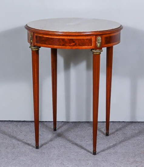 A French Mahogany and Burr Wood Circular Occasional Table,...