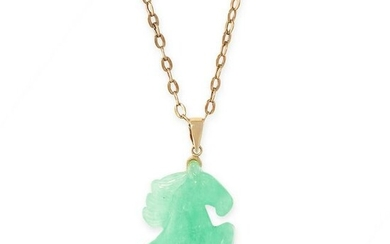 A JADEITE JADE PENDANT AND CHAIN in 14ct and 9ct yellow