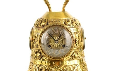 A LATE 19TH CENTURY FRENCH GOTHIC BRASS MANTEL CLOCK COMPEN...