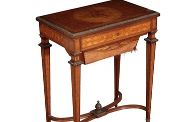 A LOUIS XV STYLE MARQUETRY WORK TABLE second half of the 19t...