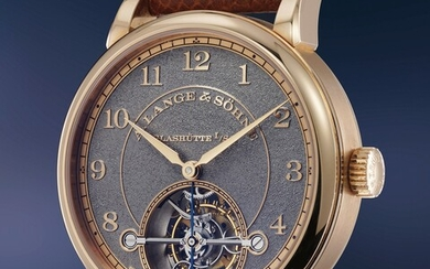 A. Lange & Söhne, Ref. 730.048 An impressive 30 piece limited edition pink gold tourbillon wristwatch with hand engraved dial, with box and guarantee