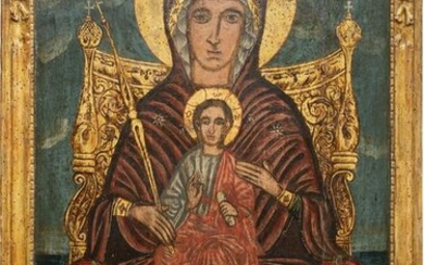 A MONUMENTAL ICON SHOWING THE ENTRHONED MOTHER OF GOD