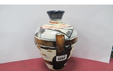 A Moorcroft Pottery Vase, painted in the 'Who Goes There' pa...