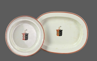 A SET OF EARLY 19TH CENTURY WEDGWOOD ARMORIAL EARTHENWARE SERVING DISHES