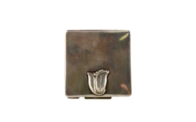 A STERLING SILVER SQUARE COMPACT BY GEORG JENSEN