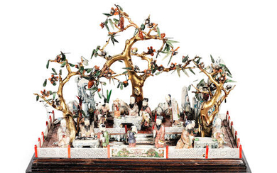 A fine late 18th / early 19th century Chinese export carved ivory and hardstone diorama of figures in a terraced garden