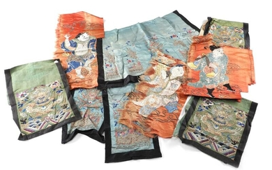 NOT SOLD. A group of Chinese late Qing embroidered textile fragments. (9) – Bruun Rasmussen Auctioneers of Fine Art
