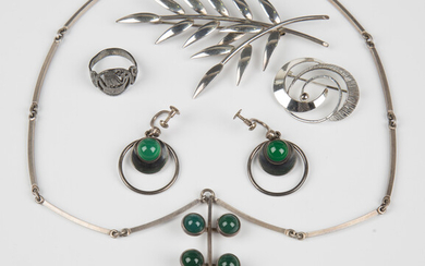 A group of mostly Scandinavian silver jewellery, comprising a cabochon green stained agate pendant n