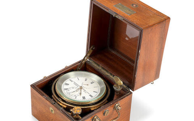 A late 19th century German mahogany and brass two day marine chronometer