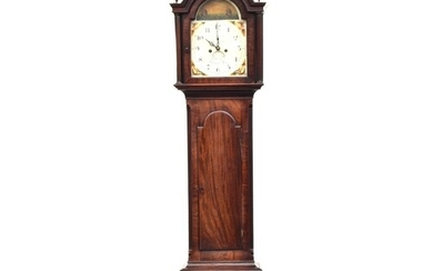A mahogany cased longcase clock, dome top, the the dial with...