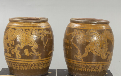 A pair of Southeast Asia ceramic urns 20th century