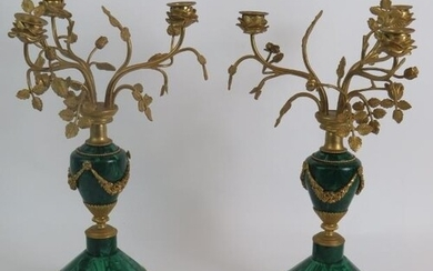 A pair of antique French Malachite bronze Ormulu mounted can...