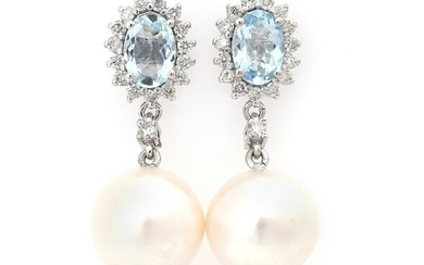 NOT SOLD. A pair of aquamarine, diamond and pearl ear pendants each set with an...