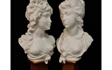 A pair of later 20th Century Royal Worcester busts designed ...