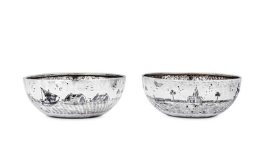 A pair of mid-20th century Iraqi silver and niello