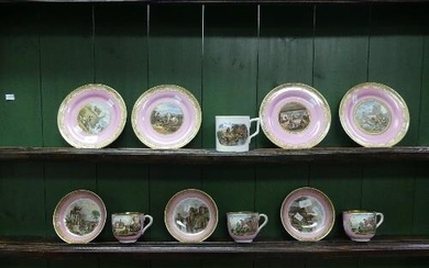 A quantity of 19thC Pratt Ware, comprising three Cups and th...