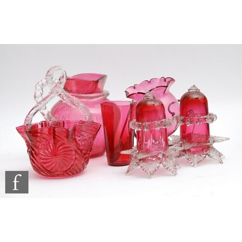 A small collection of late 19th Century cranberry glass to c...
