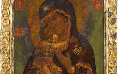 AN ICON SHOWING THE FEODOROVSKAYA MOTHER OF GOD WITH BASMA...
