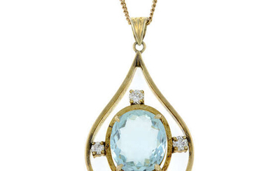 An aquamarine and diamond pendant, suspended from a 9ct gold chain.