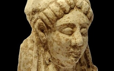 Ancient Greek Ceramic - Large bust of a young Koré - archaic period