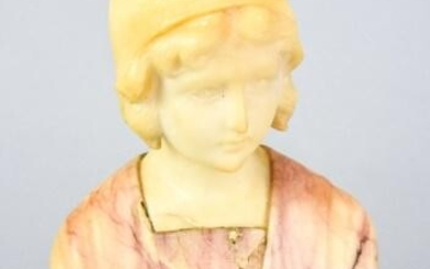 Antique Carved Alabaster Bust of Young Girl