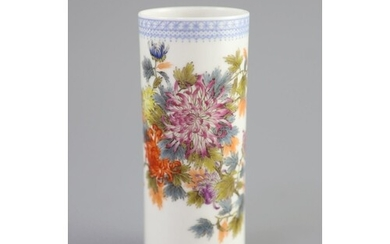 Attributed to Wang Bu, a famille rose chrysanthemum cylind...