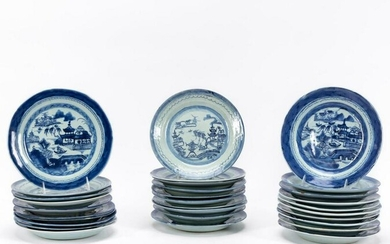 BLUE & WHITE CANTON VARIOUS SIZED PLATES, 30 PCS