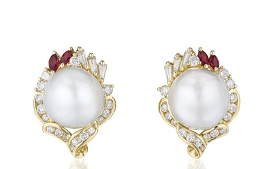 Cultured Pearl Diamond and Ruby Earrings