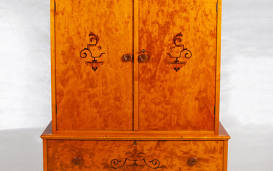 DINING CABINET. Art Deco, stained and blackened birch, marquetry, 1930s.