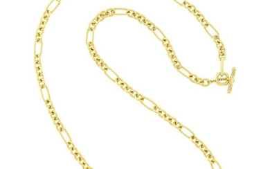 David Yurman Long Gold Chain Necklace with Toggle Clasp
