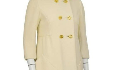Don Simonelli Cream Wool Mod Coat with Gold Buttons