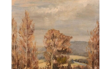 Early 20th century school, a country landscapes with distant...