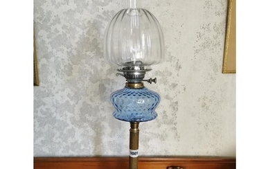 Edwardian brass column oil lamp with blue grass shade and cl...
