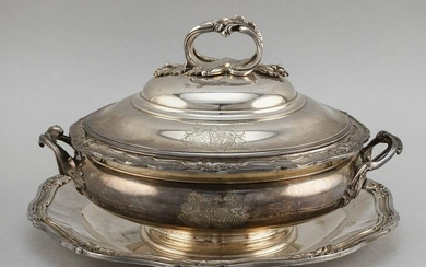 FRENCH .950 SILVER COVERED TUREEN AND UNDERPLATE Paris
