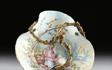 French Gilt Bronze Mounted And Painted Enamel Bowl