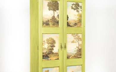 GREEN PAINTED TALL CABINET WITH LANDSCAPE PANELS