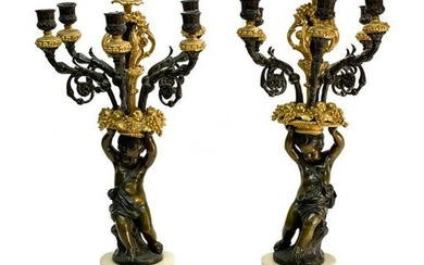Gilt and Patinated Bronze Candelabras