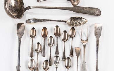 Group of Georgian Sterling Silver and Coin Flatware