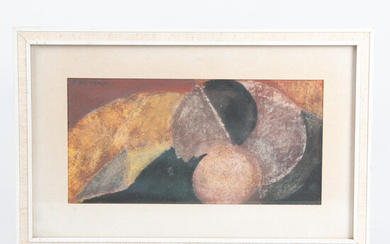 HANS OSSWALD. Oil pastel. Abstract composition, signed.