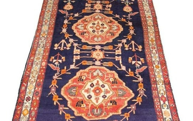 """Hand-knotted Ardabil Wool Rug 4'9"""" x 13'11"""""""